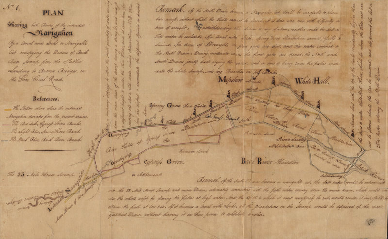"""<p><span style=""""line-height: 115%; font-family: Calibri, 'sans-serif'; font-size: 11pt;"""">Dual flanking canals wrapping around Cypress Grove and Back River Plantations, with water flowing left to right, Charleston, South Carolina, 6 August 1792, courtesy of the Ball Family Papers, South Caroliniana Library, University of South Carolina.&nbsp;</span></p>"""