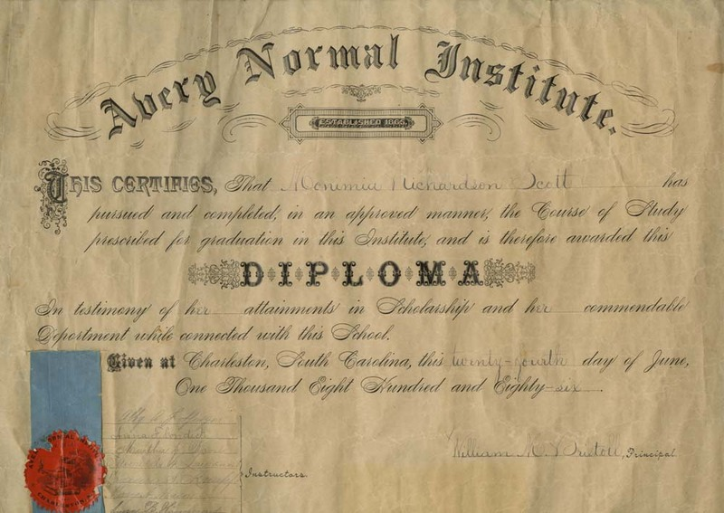 Diploma for Monimia Richardson Scott from the Avery Normal Institute, 1886, courtesy of the Avery Research Center.
