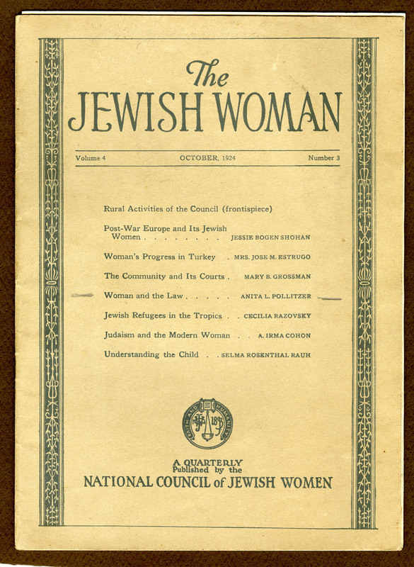 "The Jewish Woman Quarterly, October 1924 vol. 4 no. 3 edition that includes Anita Pollitzer's article, ""Woman and the Law,"" Anita Pollitzer Family Papers, South Carolina Historical Society."