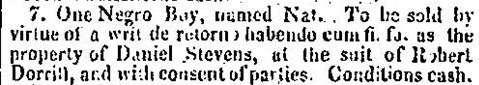 Selection from &ldquo;Sheriff&rsquo;s Sale,&rdquo; <em>Charleston Courier</em>, Charleston, South Carolina, August 6, 1827, courtesy of America's Historical Newspapers.