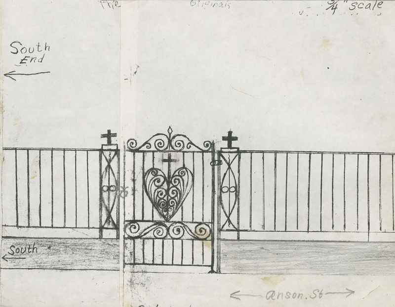 Sketch of 91 Anson Street gate and fence, Charleston, South Carolina, ca. 1997, created by Philip Simmons, Philip Simmons Collection, courtesy of the Avery Research Center.