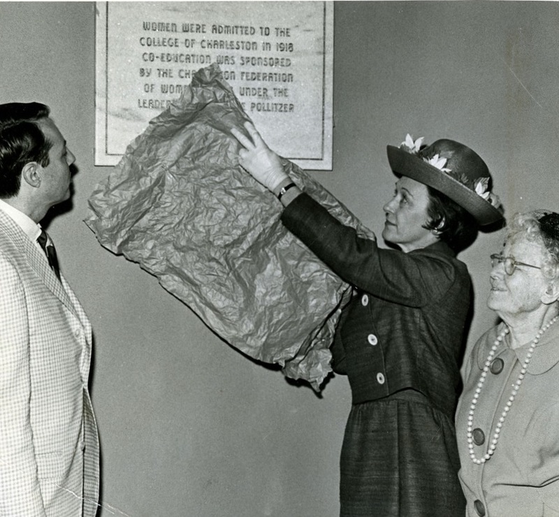 Unveiling of the plaque commemorating the College of Charleston's admittance of women in 1918, Charleston, SC, March 11, 1968, Anita Pollitzer Family Papers, South Carolina Historical Society.