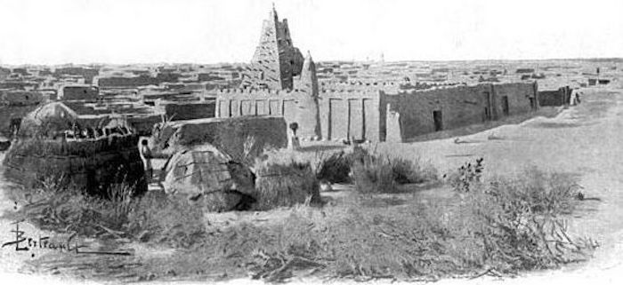 """The Mosque of Sankore,"" <em>Timbuctoo the Mysterious</em>, Félix Dubois, Timbuktu, Mali, 1896, courtesy of the University of California Library."