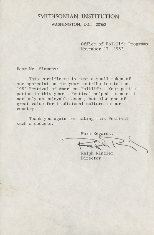 Letter from Ralph Rinzler to Philip Simmons in appreciation of his participation in the 1982 Festival of American Folklife, November 1982, Philip Simmons Collection, courtesy of the Avery Research Center.