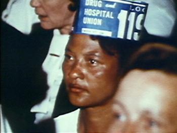 A Charleston nurse assistant in 1199B, Charleston, South Carolina, 1969, still image from <em>I Am Somebody</em>.