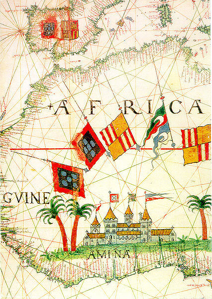 """Map of West African coast showing """"A mina"""" (the mine), which later became Elmina in present day Ghana, ca. sixteenth century."""