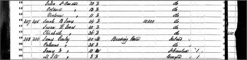 1850 census record of the three Jones sisters living together on Guignard Street, United States Census Bureau, Charleston, SC, 1850, courtesy of Ancestry.