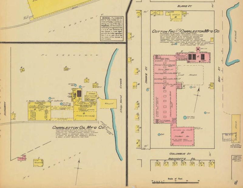 Map of the Cotton Factory, Sanborn Fire Insurance Map Company, Charleston, South Carolina, ca. 1888, courtesy of the South Caroliniana Library, University of South Carolina, Columbia, South Carolina.