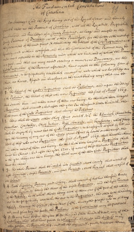 "The Fundamental Constitutions of Carolina, drafted by the Lords Proprietors, 1669-1670. The original authors were most likely Anthony Ashley Cooper, the Earl of Shaftesbury, and the philosopher John Locke. This legal document encrouaged African slavery in Carolina by ensuring that every freeman had ""absolute"" power over his ""Negro slaves."""