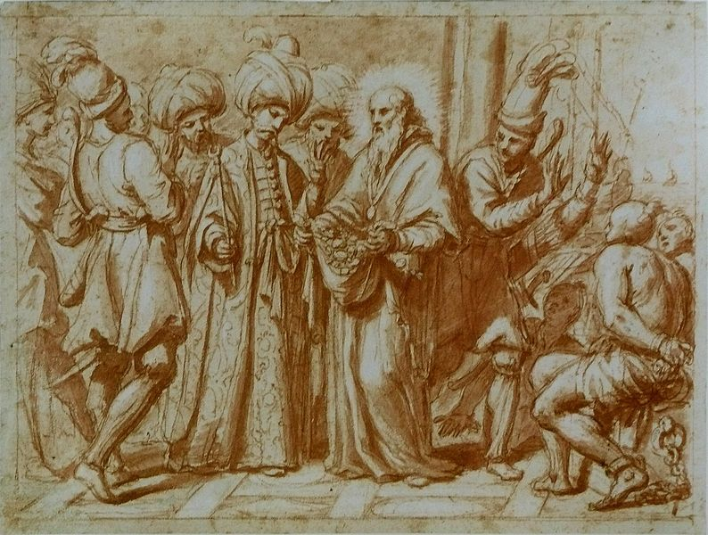 The ransoming of Christian slaves held by Turkish, drawing by Giovanni Maria Morandi, ca. 1600s, courtesy of Musée du Louvre.
