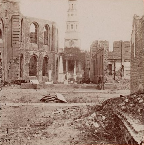 Ruins of Secession Hall and the Circular Church after 1861 fire, photograph by Taylor & Huntington, Charleston, South Carolina, 1865, courtesy of Library of Congress.