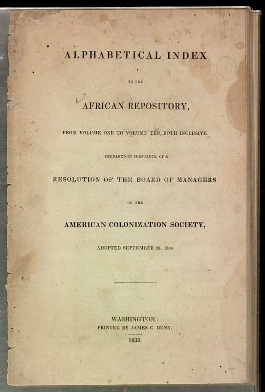 Cover page of the <em>American Colonization Society's Index</em>, Washington, DC, 1835, courtesy of Library on Congress.