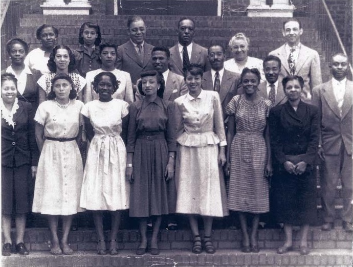 Last known photo of Avery faculty, Charleston, South Carolina, ca. 1947, courtesy of the Avery Research Center. Back row (from left to right): Carutha Williams, Isabell Coaxum, Alphonso Hoursey, John Davidson, Hattie Green, and Principal John F. Potts. Second row (left to right): Geneva P. Singleton, Ann Duncan, Frances C. Thomas, D. Jack Moses, John Howie, Michael Graces, and Luther Brigen. Front row (left to right): Margaret R. Poinsette, Lois Moses, Johnnie Johnson, Cynthia McCottry, Esther Manigault, Lucille Williams, and Charlotte Tracy.