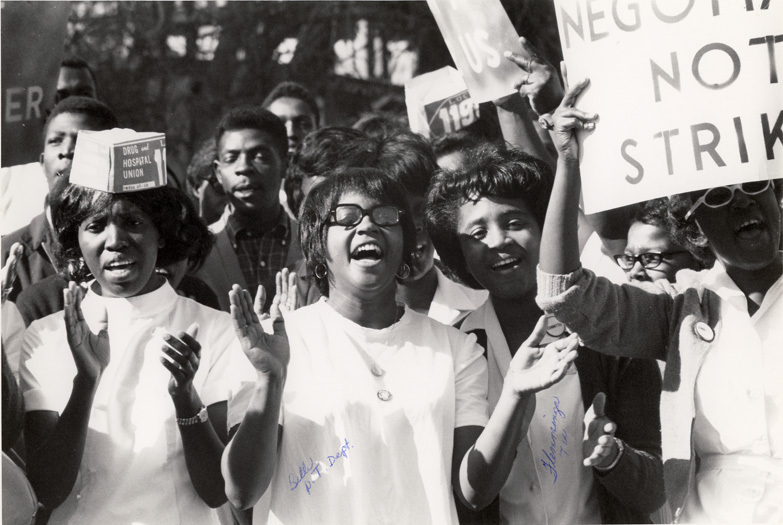 A group of hospital employees protesting working conditions in the Medical University Hospital, Charleston, South Carolina, 1969, courtesy of the Waring Historical Library, Medical University of South Carolina, Charleston.