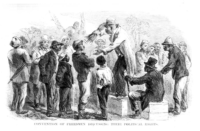 Convention of freedmen discussing their political rights, Georgia, 1867, illustration by John Karst, courtesy of Mid-Manhattan Library Picture Collection.