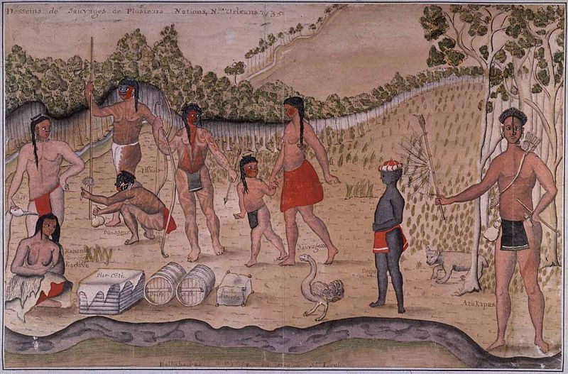 Watercolor painting of southeastern American Indians and an African child, Alexander De Batz, French Louisiana, 1735.
