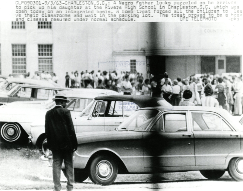 Bomb threat forcing students into the Rivers High School parking lot, Charleston, South Carolina, 1963, courtesy the Avery Research Center.