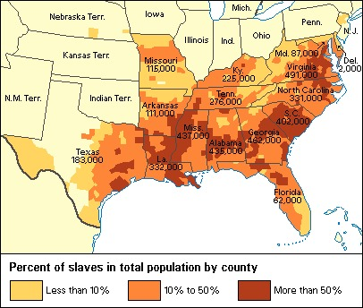 Map showing the concentration of enslaved people in the South, 1860.