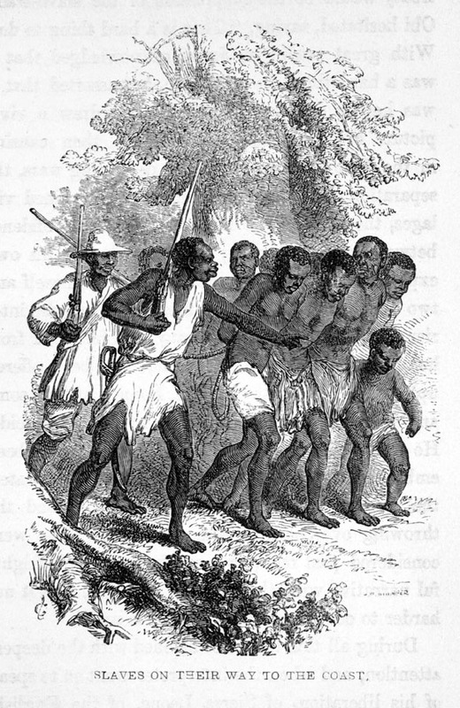 """""""Slaves on their way to the coast,"""" from <em>Abbeokuta; or, Sunrise Within the Tropics: an Outline of the Origin and Progress of the Yoruba</em> <em>M</em><em>ission </em>by Sarah Tucker,<em>&nbsp;</em>London, 1853, courtesy of the Virginia Foundation for the Humanities and the University of Virginia Library."""