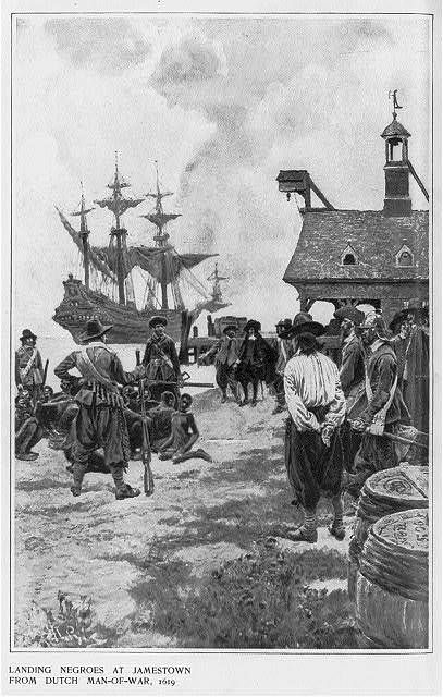 """Landing Negroes at Jamestown from Dutch Man-of-War,"" 1619, illustration in <em>Harper's Monthly</em>, 1901, courtesy of Library of Congress. The enslaved Africans depicted in this painting were reportedly the first to arrive in English North America in 1619."