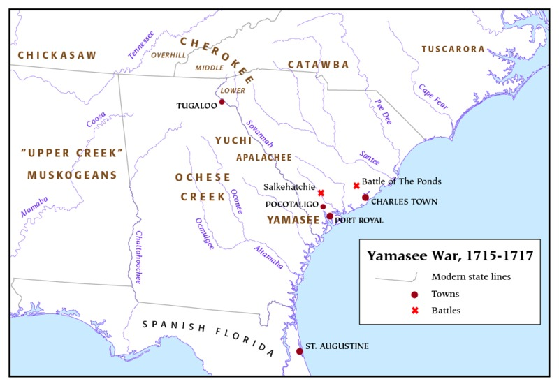 Map overview of the Yamassee War, 2007.