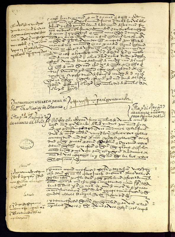 Letter from the Spanish Monarchs Ferdinand and Isabel to Nicolas Ovando, Spain, 20 March 1503, courtesy of the Archivo General de Indias, Sevilla, Spain. The monarchs, on Ovando's recommendation, ban the trans-Atlantic slave trade.
