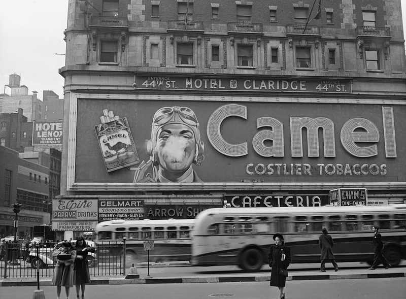 Camel cigarette adverstiment at Times Square, image by John Cachon, New York City, New York, 1943, courtesy of Library of Congress Prints and Photographs Division.
