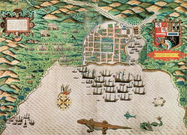 Map of Santiago, Cape Verde, 1589, created by Giovanni Battista Boazio.
