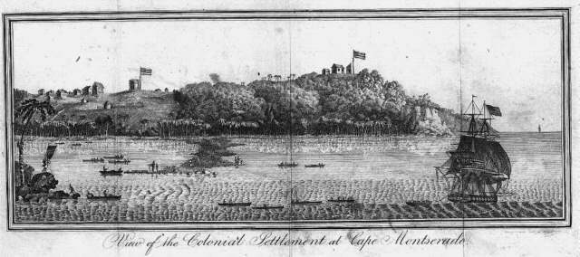 View of Colonial Settlement at Cape  Montserado, Liberia, 1825,  courtesy of Library of Congress.