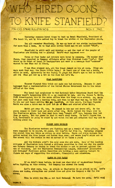 """Who Hired Goons to Knife Stanfield,"" in <em>FTA-CIO Strike Bulletin</em>, 9 November 1945, courtesy of South Carolina Historical Society."