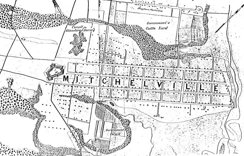 Excerpt of a 1869 U.S. Government map showing Mitchelville, South Carolina, a freedmen's town that was part of the Port Royal Experiment, located in what is now Hilton Head, South Carolina.