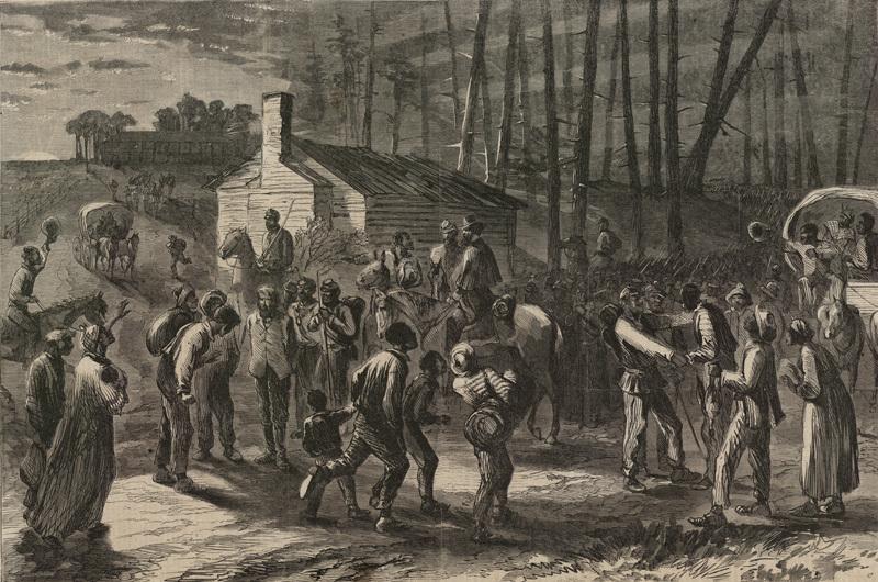 Colored troops under General Wild liberating slaves in North Carolina, 1864, <em>Harper's Weekly</em>.