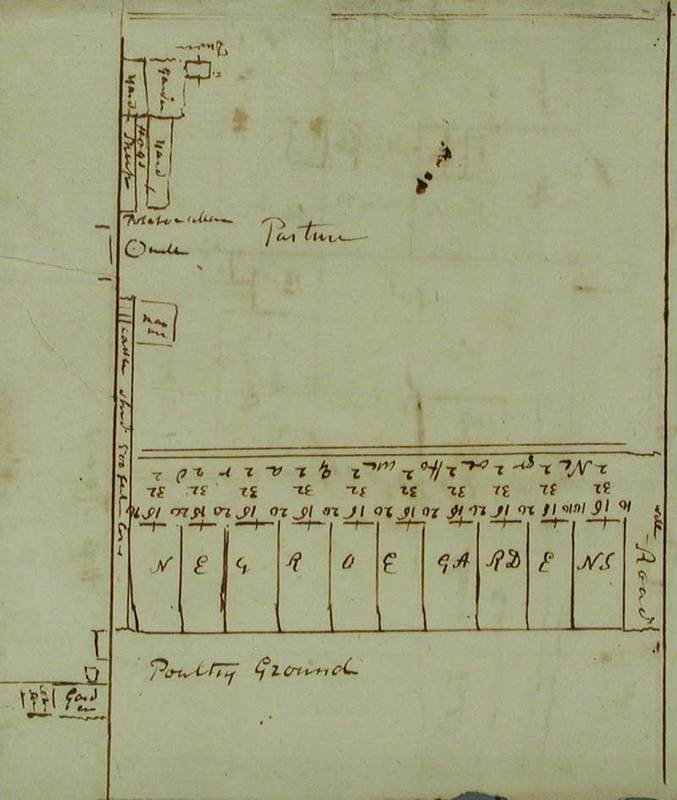 "Drawing of ""Negroe Gardens"" on Drayton family plantation, from Drayton diary, ca. 1700s, courtesy of Drayton Hall. <br />"