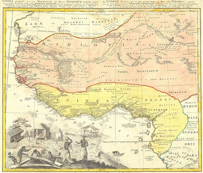 Map of West Africa, created by Johann Baptist Homann, 1743.