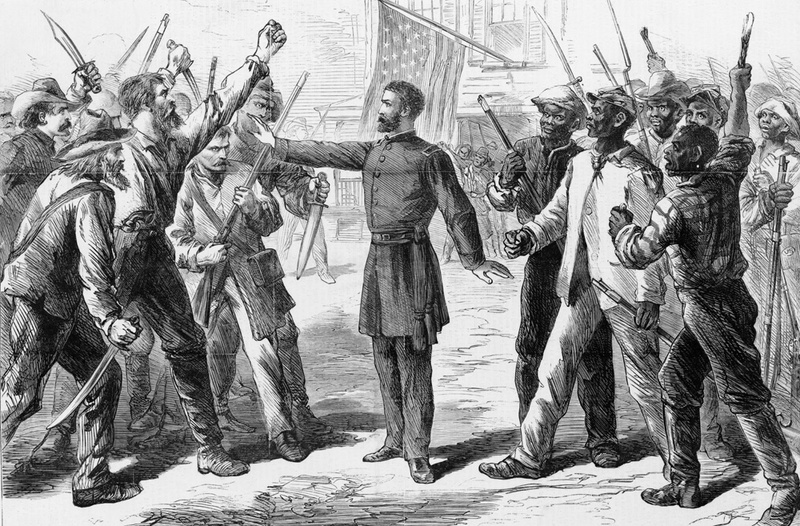Freedman's Bureau official standing between armed groups of white and African American men, 1868, wood engraving by Alfred R. Waud, <em>Harper's Weekly</em>, courtesy of the Library of Congress Prints and Photographs Division.