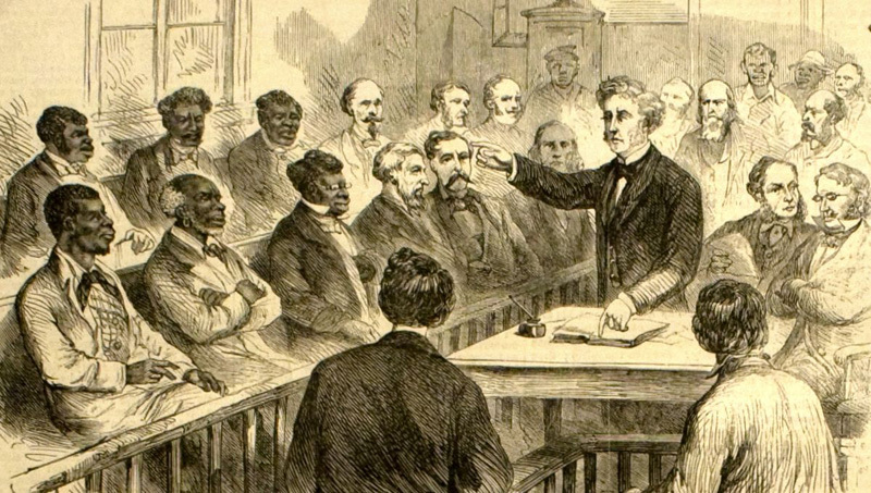 """Jury of whites and blacks,"" The operations of the registration laws and Negro [suffr]age in the South, 1867, engraving by James E. Taylor, <em>Frank Leslie's Illustrated Newspaper</em>, courtesy of Library of Congress Prints and Photographs Division."