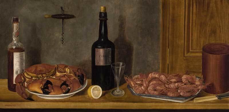 """""""Still Life with a Bottle of Cognac, Crabs, and Prawns,"""" painting by William Aiken Walker, 1860, courtesy of the Charleston Renaissance Gallery."""