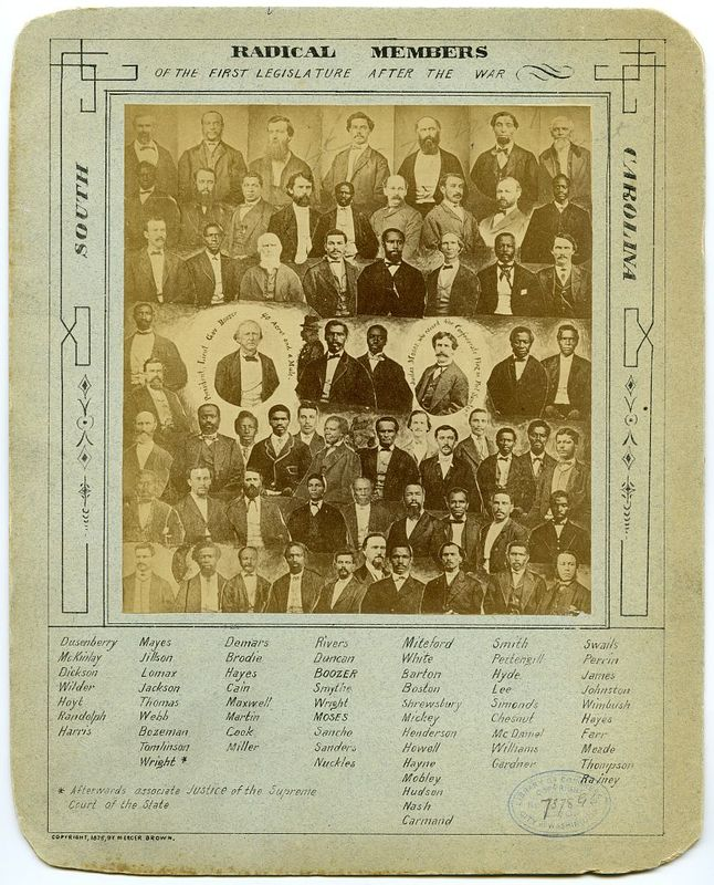 """""""Radical members of the first legislation after the war,"""" ca. 1876,South Carolina, courtesy of Library of Congress Prints and Photographs Division."""