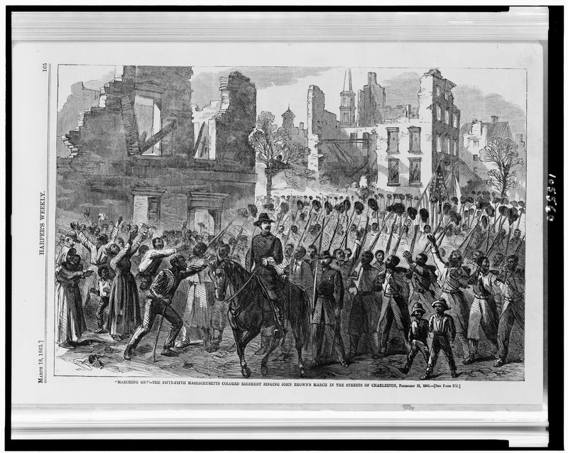 """Marching On!,"" <em>Harper's Weekly</em>, Charleston, South Carolina, March 18, 1865, courtesy of Library of Congress."