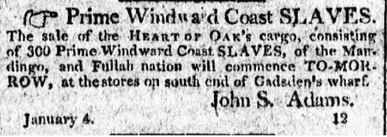 Runaway slave advertisement,&nbsp;<em>City Gazette and Daily Advertiser,&nbsp;</em>Charleston, South Carolina, January 8, 1808.