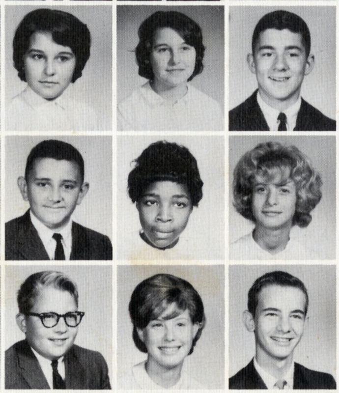 Jacqueline Ford and classmates, <em>Tide,</em>&nbsp;Rivers High School Yearbook, 1965, courtesy of the South Carolina Room, Charleston County Public Library.