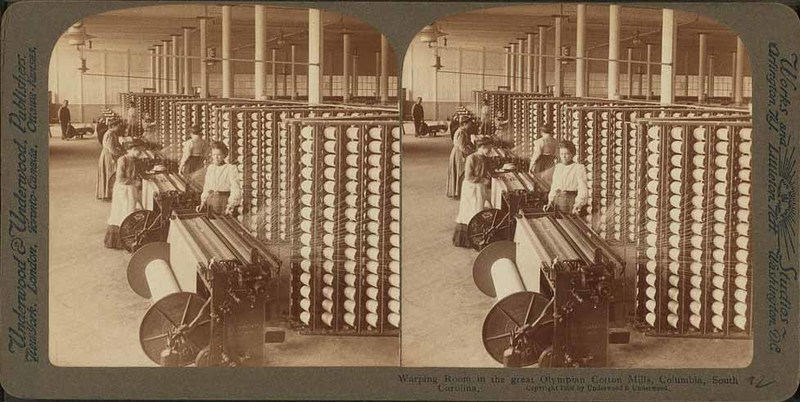 Warping room in the Olympian Cotton Mills, Columbia, South Carolina, ca. 1903, courtesy of the New York Public Library.