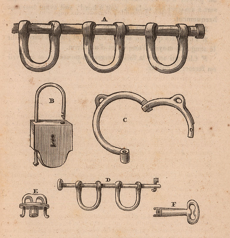 """""""Shackles, Manacles, and Padlocks Used in the Slave Trade, early 19th cent.,"""" <em>Faits relatifs a la traite des noirs</em>, published by the Soci&eacute;t&eacute; de la morale Chr&eacute;tienne, Comit&eacute; pour l'abolition de la traite des noirs, Paris, 1826, courtesy of the Virginia Foundation for the Humanities and the University of Virginia Library."""