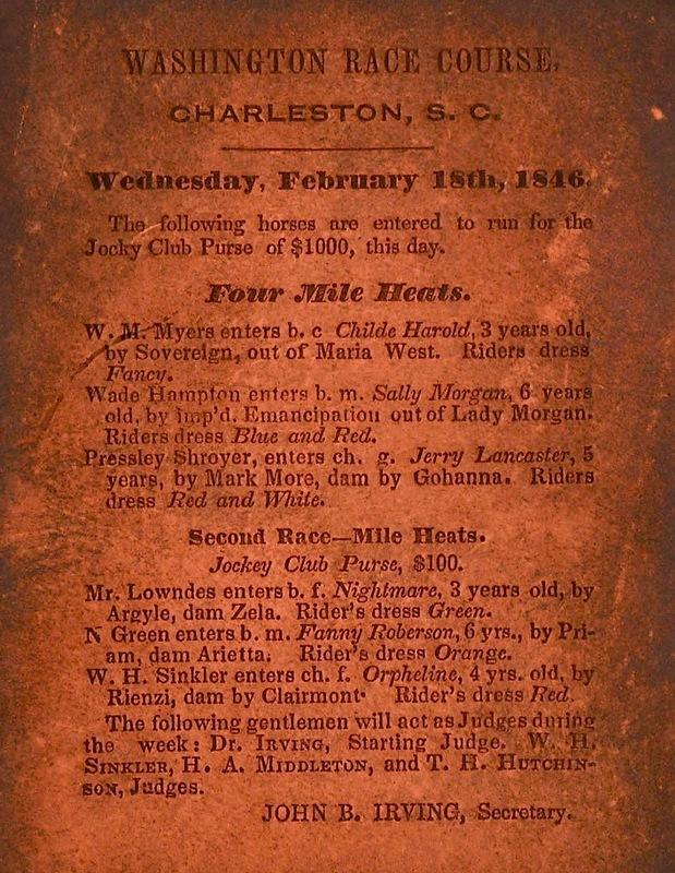 Washington Race Course Broadside, John B. Irving, Charleston, South Carolina, 1846, courtesy of University of South Carolina, South Carolinian Library.