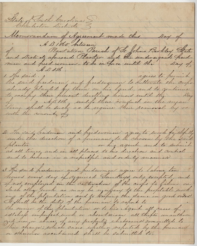 General agreement form for freedmen and women as laborers on a plantation, 1865, Heyward and Ferguson Family Papers, courtesy of the College of Charleston Libraries.