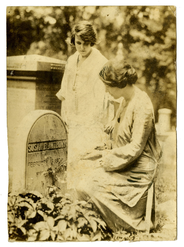 Alice Paul and Anita Pollitzer at Susan B. Anthony's grave, ca. 1920s, Anita Pollitzer Family Papers, South Carolina Historical Society.