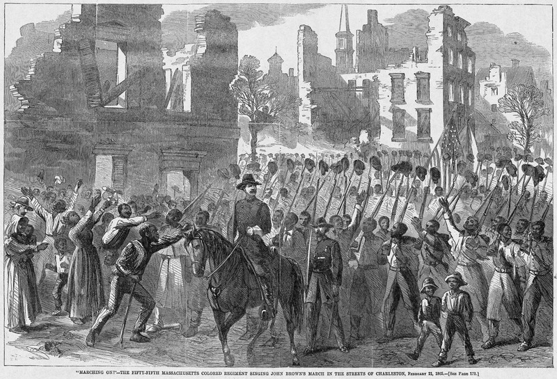 """'Marching on!' The Fifty-fifth Massachusetts Colored Regiment singing John Brown's March in the streets of Charleston,"" wood engraving, Charleston, South Carolina, 1865, <em>Harper's Weekly</em>, courtesy of Library of Congress Prints and Photographs Division."