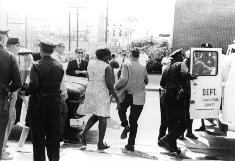Mary Moultrie being arrested on picket line at Medical College Hospital, Charleston, South Carolina, 1969, courtesy of Avery Research Center.