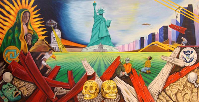 <em>Antorcha Guadalupana</em><span>, pintura de&nbsp;</span>Cornelio Campos<span>, Durham, Carolina del Norte. Campos es un artista y defensor de la comunidad cuyo arte encapsula los vibrantes colores y temas del folclore mexicano y las experiencias de los migrantes.</span>