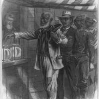 """""""The first vote,"""" 1867, wood engraving by Alfred R. Waud, <em>Harper's Weekly</em>, courtesy of the Library of Congress Prints and Photographs Division."""